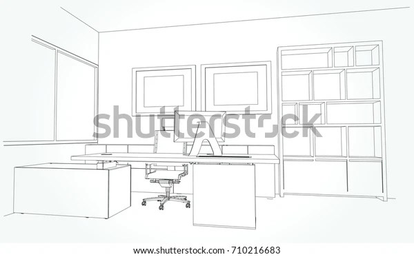 Interior Outline Sketch Drawing Perspective Space Stock