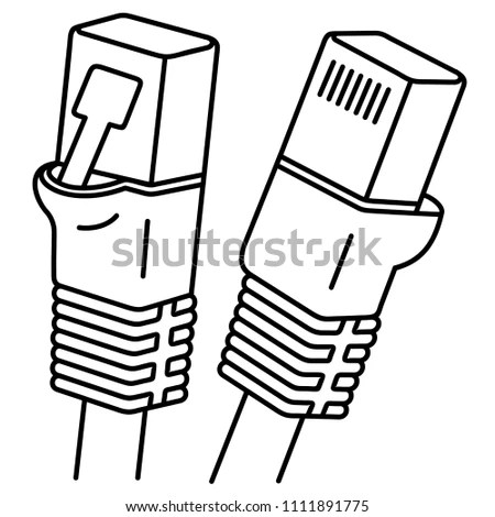 Internet Cable Ethernet Cable One Most Stock Vector