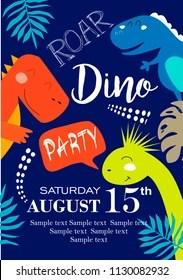 https www shutterstock com image vector invitation card dinosaur party 1130082932