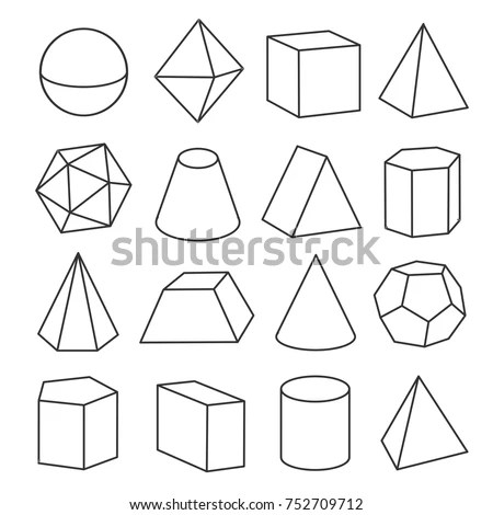 Isometric Geometric Figures Geometric Drawing Three Stock