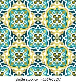 https www shutterstock com image vector italian tile pattern vector seamless flowers 1369623137
