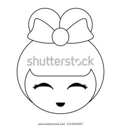 Japanese Girl Face Cartoon Black White Stock Vector Royalty Free 1353692093