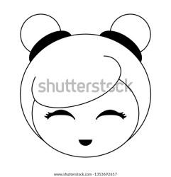 Japanese Girl Face Cartoon Black White Stock Vector Royalty Free 1353692657