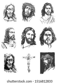Jesus Face Outline : jesus, outline, Jesus, Stock, Images, Shutterstock