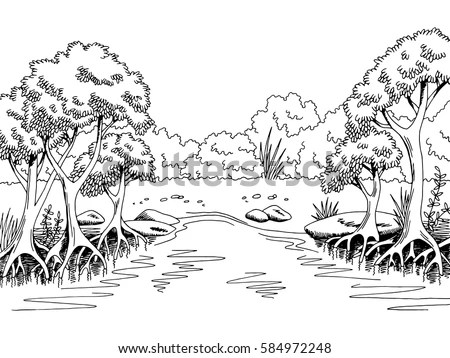 Jungle Forest River Graphic Black White Stock Vector