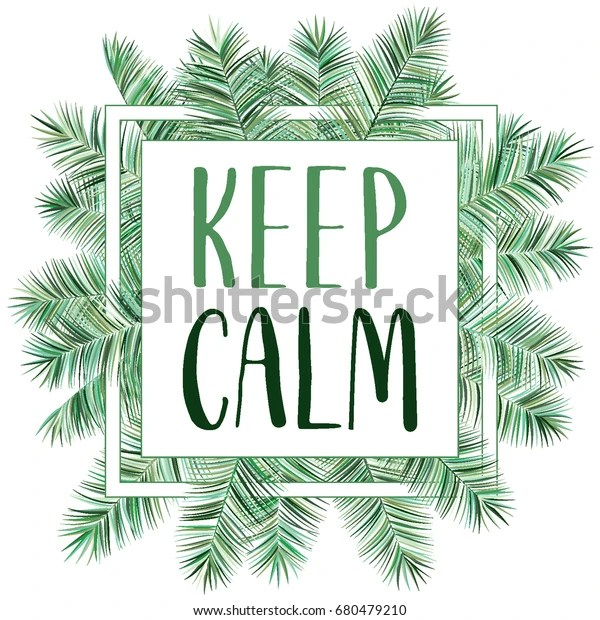 Keep Calm Tropical Palm Leaves Frame Stock Vector (Royalty Free) 680479210