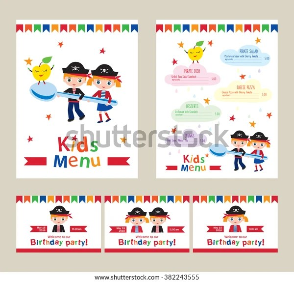 https www shutterstock com image vector kids menu pirate birthday party invitation 382243555