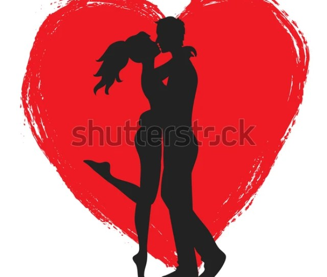 Kissing Couple Young Lowers Heart Royalty Free Stock Image