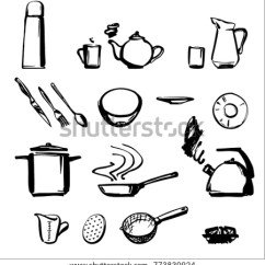 Black And White Kitchen Accessories Remodel Planner Drawn By Line Stock Vector Royalty Free A On Background Set Of Tableware