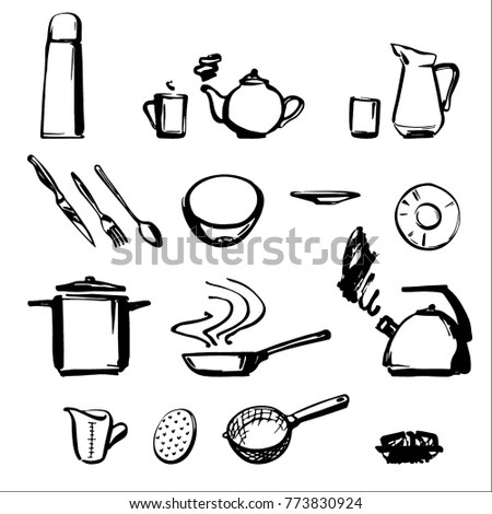 black and white kitchen accessories modular outdoor frames drawn by line stock vector royalty free a on background set of tableware