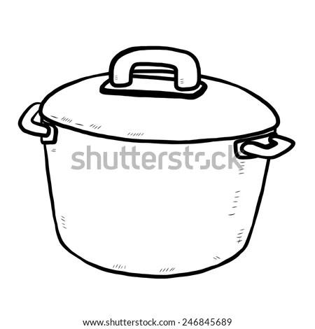 Kitchen Pot Cartoon Vector Illustration Black Stock Vector