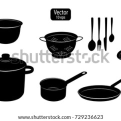 Kitchen Utensils Recessed Lighting Cooking Food Silhouettes Stock Vector For Of Tools Pot And Pan