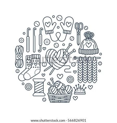 Vetor stock de Knitting Crochet Hand Made Banner