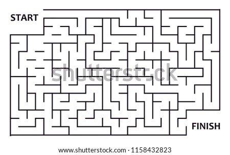 Labyrinth Maze Entry Exit Puzzle Logical Stock Vector
