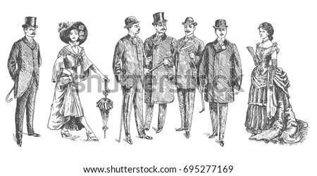Ladies Gentlemen Man Woman Figure Collection Vector de