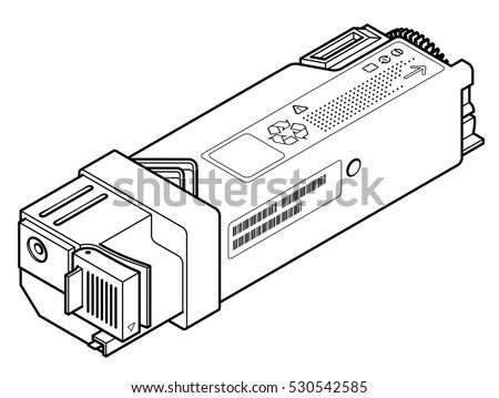 Laser Printer Toner Cartridge Line Drawing Stock Vector