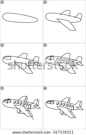 Learning Drawing Children Step By Step Stock Vector