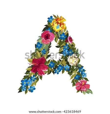 Letter Flower Capital Alphabet Colorful Font Stock Vector