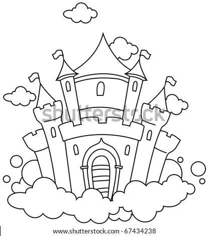 Line Art Illustration Castle Sky Coloring Stock Vector