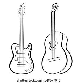 Newest For Acoustic Guitar Guitar Drawing Outline
