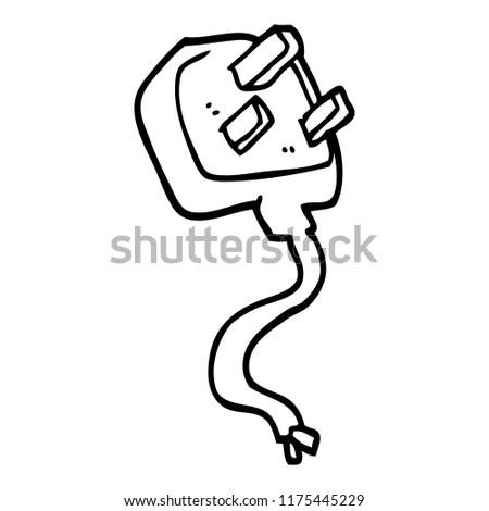 Line Drawing Cartoon British Plug Stock Vector (Royalty