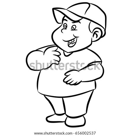 Line Drawing Cartoon Fat Boy Smiling Stock Vector (Royalty