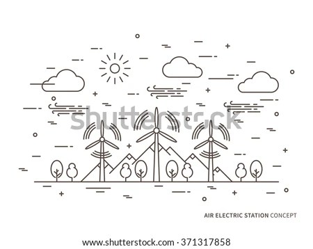 Vetor stock de Linear Air Electric Station Wind Energy