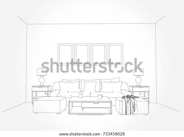 Linear Sketch Interior Living Room Plan Stock Vector