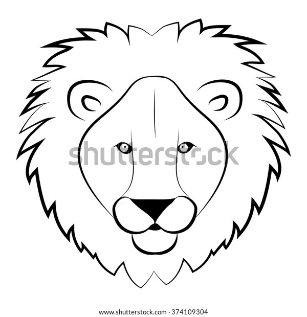 Lion Head Coloring Book Wild Lion Stock Vector (Royalty