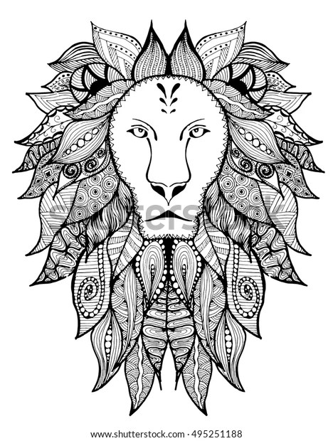 Lion Tattoo Lion Zentangle Lion Doodle Stock Vector Royalty Free