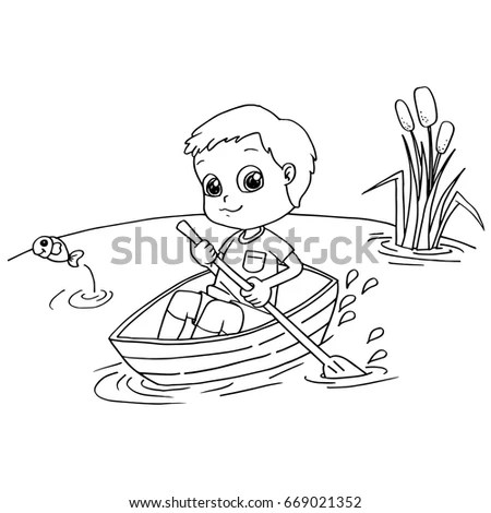 Little Boy Rowing Boat Coloring Page Stock Vector (Royalty