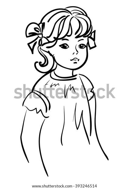little girl outline drawing