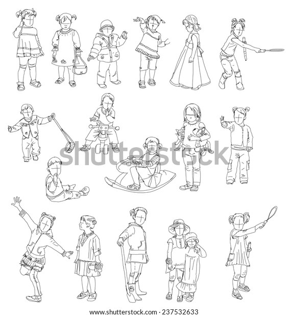 Little Kids Silhouettes Sketch Collection Stock Vector