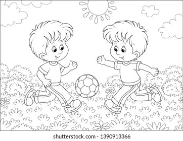 Childs Drawing Football Playing Images, Stock Photos