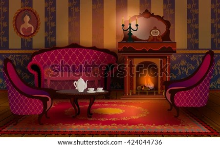 old english living room designs modern white rooms pictures interior fireplace sofa armchair stock vector royalty with and on the table are cup