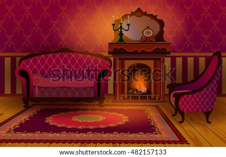 old english living room designs paint color ideas for with brown couch interior fireplace sofa armchair stock vector royalty and the cozy in