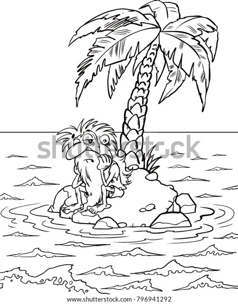 Lonely Man On Deserted Island Black Stock Vector (Royalty