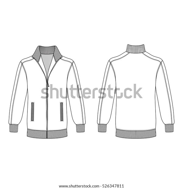 Long Sleeve Jacket Zipper Outlined Template Stock Vector