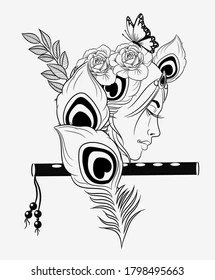 Krishna Photo Black And White : krishna, photo, black, white, Krishna, Black, Images,, Stock, Photos, Vectors, Shutterstock