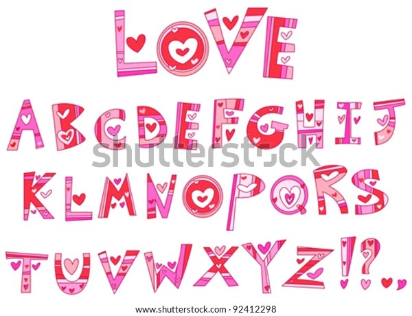 Download Love Alphabet Stock Vector (Royalty Free) 92412298
