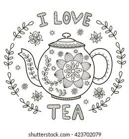 teapot coloring pages Stock Vectors, Images & Vector Art