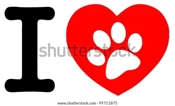 Download Love Text Red Heart Paw Print Stock Vector (Royalty Free ...