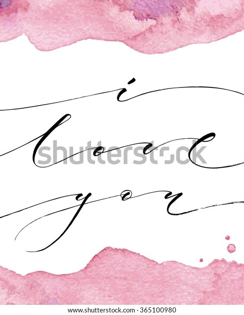 Download Love You Modern Calligraphy Watercolor Stroke Stock Vector ...