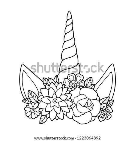 Unicorn Outline Drawings Sketch Coloring Page