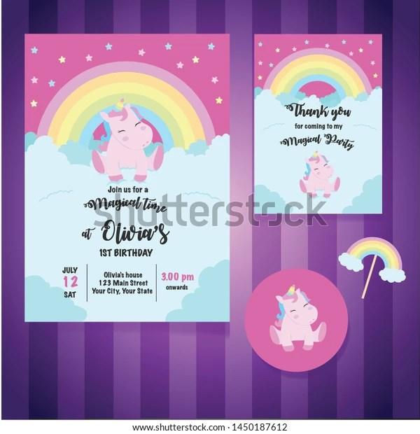 https www shutterstock com image vector magical unicorn birthday party invitation card 1450187612