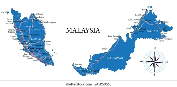 Malaysia Map Images Stock Photos Vectors Shutterstock