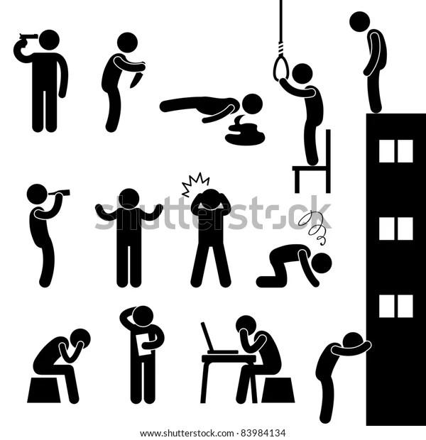 Man People Life Suicide Suicidal Kill Stock Vector