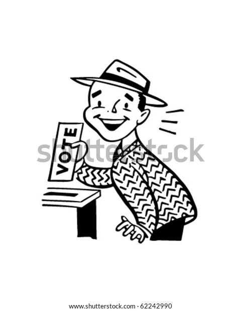 Man Voting Retro Clipart Illustration Stock Vector