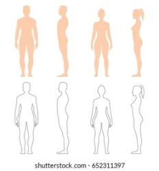 body female drawing woman standing side silhouette outline poses