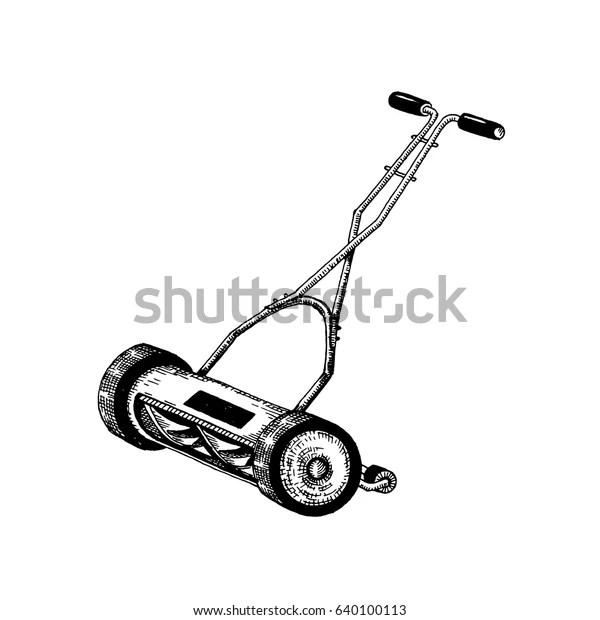 Manual Lawn Mower Vector Illustration Sketch Stock Vector